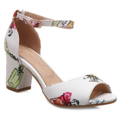 Perfume Bottle Printed Design Sandals For Women