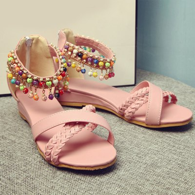 Ladylike Weae and Beading Design Sandals For Women