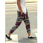 Casual Style Lace-Up Tribal Printing Slimming Narrow Feet Pants For Men deal