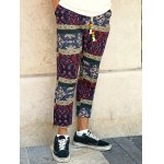 cheap Casual Style Lace-Up Tribal Printing Slimming Narrow Feet Pants For Men