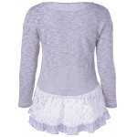 cheap Casual Long Sleeves Scoop Neck Lace Splicing Flounce T-Shirt For Women