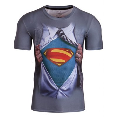 Fitted 3D Superman Print Round Neck Short Sleeve Quick-Dry T-Shirt For Men
