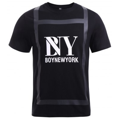 Special Fabric Spliced Letters Pattern T-Shirt