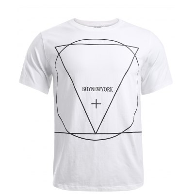 Geometric Pattern Solid Color T-Shirt