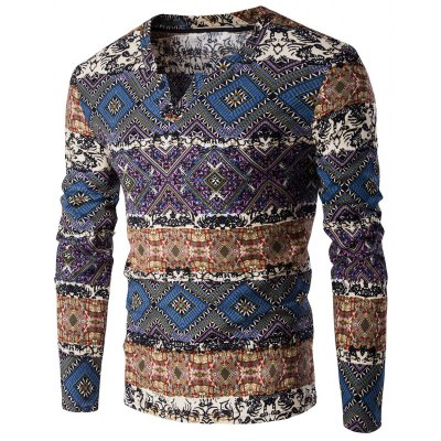 V-Neck Color Block Spliced Ethnic Style Pattern Long Sleeve T-Shirt For Men