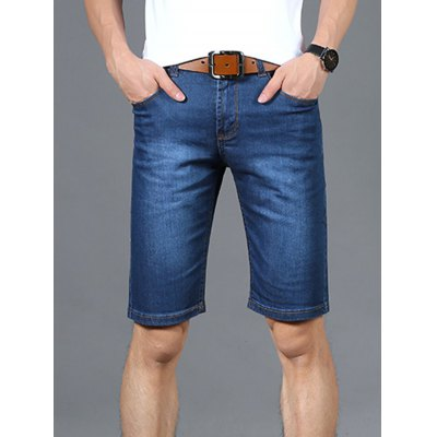 Zipper Fly Straight Leg Denim Shorts