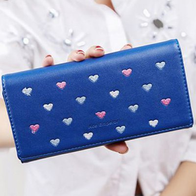 Trendy Heart Pattern and Embroidery Design Wallet For Women