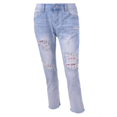 Lattice Panelled Ripped Jeans For Women