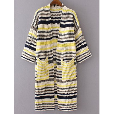 3/4 Sleeve Striped Pockets Long Cardigan
