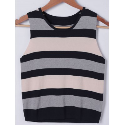 Scoop Neck Color Block Knitwear For Women