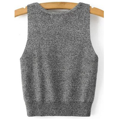 Casual Deep V Neck Knitted Women's Tank Top