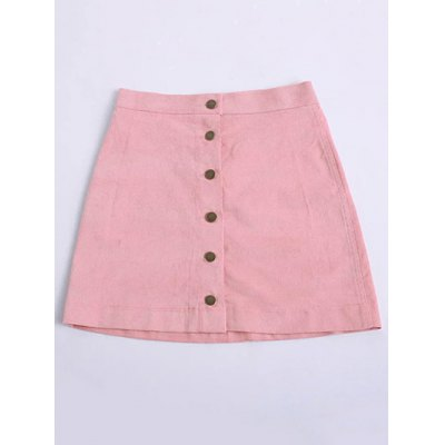 Chic Button Front A-Line Women's Mini Skirt
