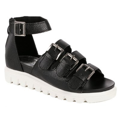Casual Zip and Buckles Design Sandals For Women