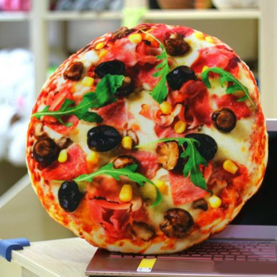 Home Office Accessories 3D Pizza Design Velboa Doll Cushion Pillow