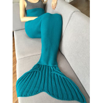 Stylish Solid Color Knitted Mermaid Tail Design Blankets For Adult