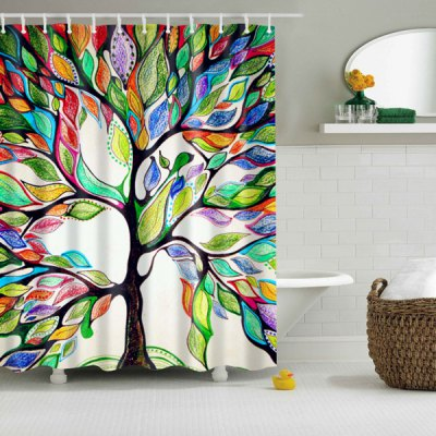 Waterproof Colorful Tree Print Shower Curtain