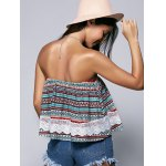 Ethnic Style Strapless Lace Splicing Crop Top for sale