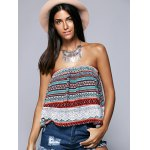 cheap Ethnic Style Strapless Lace Splicing Crop Top
