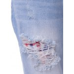 Stylish Lattice Panelled Ripped Jeans For Women for sale