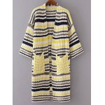 Stylish 3/4 Sleeve Striped Pockets Long Cardigan For Women