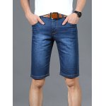 Zipper Fly Solid Color Straight Leg Denim Jeans Shorts For Men
