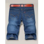 best Zipper Fly Solid Color Straight Leg Denim Jeans Shorts For Men