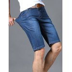cheap Zipper Fly Solid Color Straight Leg Denim Jeans Shorts For Men
