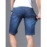 Zipper Fly Solid Color Straight Leg Denim Jeans Shorts For Men deal