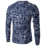 cheap V-Neck Buttons Design Abstract Ethnic Style Pattern Long Sleeve T-Shirt For Men