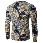 cheap V-Neck Color Block Ethnic Style Floral Pattern Long Sleeve T-Shirt For Men