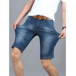 cheap Fashionable Frayed Mid Wash Slim Fit Denim Shorts For Men