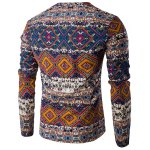 cheap V-Neck Color Block Ethnic Style Pattern Long Sleeve T-Shirt For Men