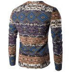 cheap V-Neck Color Block Spliced Ethnic Style Pattern Long Sleeve T-Shirt For Men