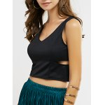 Cut Out Zipper Back Crop Top