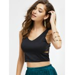 cheap Cut Out Zipper Back Crop Top