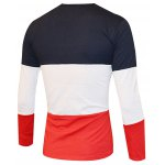 cheap Color Splicing Round Neck Long Sleeve T-Shirt For Men