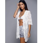 Openwork Row Edged Floral Lace Kimono Cover-Up for sale