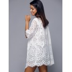 best Openwork Row Edged Floral Lace Kimono Cover-Up