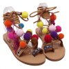 Rome Style Cross Straps and Pompon Design Sandals For Women deal
