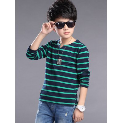 Slimming Boy's Striped Long Sleeve T-Shirt
