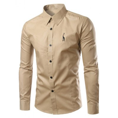 Turn-Down Collar Slim Fit Long Sleeve Shirt For Men