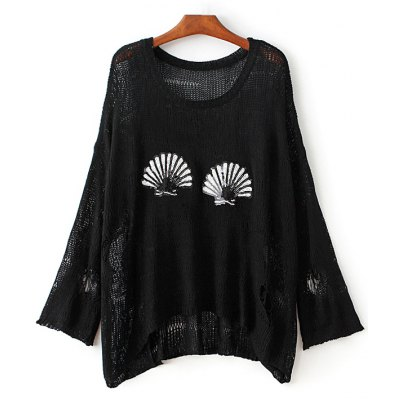 Round Neck Ripped Sequins Embellished Sweater