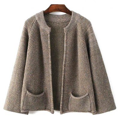Stand Neck Long Sleeve Pockets Solid Color Cardigan