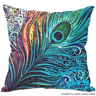 Sweet Colorful Peacock Feather Pattern Art From Laura Zollar Flax Pillow Case(Without Pillow Inner)