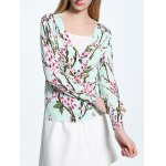cheap V-Neck Floral Print Long Sleeve Cardigan