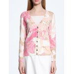 V-Neck Abstract Print Long Sleeve Cardigan