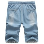 cheap Casual Distressed Design Drawstring Waistband Denim Shorts For Men