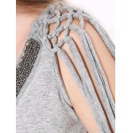 Beaded Lace-Up Grey Crop Top for sale