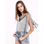 cheap Beaded Lace-Up Grey Crop Top