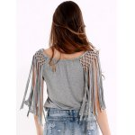 Beaded Lace-Up Grey Crop Top deal